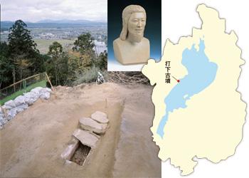 箱形石棺の検出状況・被葬者復顔模型